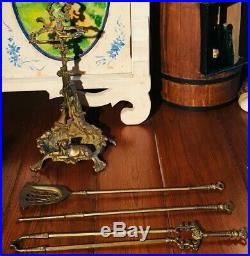 French Brass Fireplace Tool Set Hunting Theme Game, Rifle, Dog