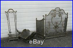 French Fleur de Lis Vintage Set of Fireplace Screen Wood Holder and Tools 9944