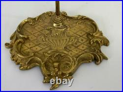 French Louis XV Rococo Gilt Brass Fireplace Mantle Hearth Companion 5pc Tool Set