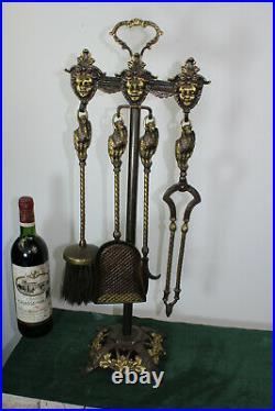 French cast iron 1960 fireplace tool set stand putti cherub head birds