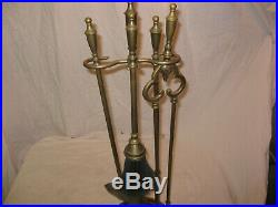 GREAT Antique SIGNED Bradley and Hubbard Brass 5 Piece Fireplace Tool Set LQQK