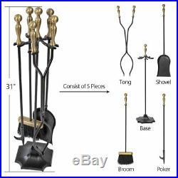 Gold Antique Cast Iron Heavy Duty Fireset Tools Fireplace Set Shovel Brush Broom