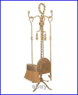 Gold Iron Swag Tassel Fireplace Tool Set Twisted Rope Fire Antique Style