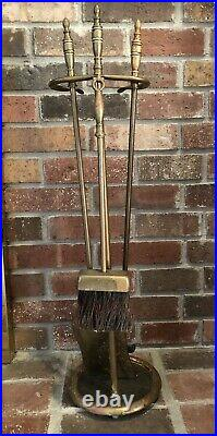 Gorgeous Vintage Antique 20s 30s 40s Brass & Wrought Iron Fireplace Tools Set