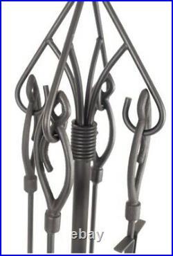 Gothic Fireplace Toolset, Shovel, Tong, Poker, Tampico, Brush, Stand, Home Decor