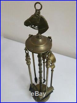Gothic Superb Brass Fireplace Set Tools Vintage 4 Pieces Antique