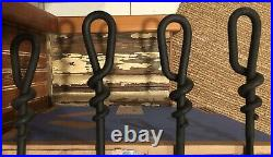 Hand Forge Wrought iron Fireplace tool Set 5 peice Set 30.5 tall 4 Legged