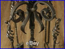 Hand Forged Custom Twisted Iron Set Fire Place Tools