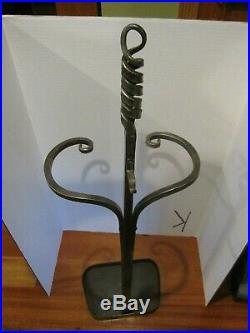 Hand Forged Fireplace 4 Pieces Tool Set Stove Handmade 1999 All Pieces marked PF