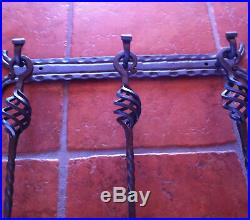 Hand Forged Fireplace Tools 4 Pieces Set Wall Hanging Wall Mounted Handmade
