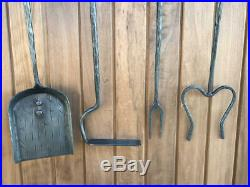 Hand Forged Iron Compact Fireplace Tool Set Poker Tongs Shovel Broom Stand Hook