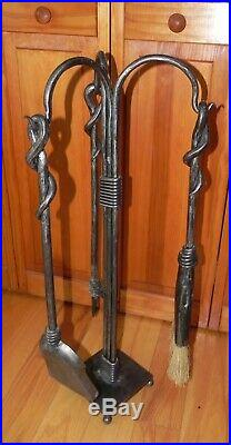 Hand Forged Iron Fireplace Tool Set Signed 30.5 Tall 4 Pieces