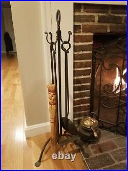 Hand Forged Wrought Iron 5 Piece Fireplace tool Set From Upstate New York