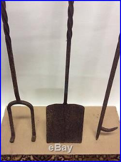 Hand forged iron Fireplace Tool Set Fire Place Tools 46 Long