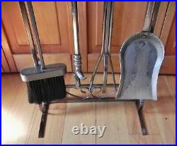 Handmade Heavy Duty Stainless Steel Fireplace Tool Set 5 Piece-33.5-16+ LBS