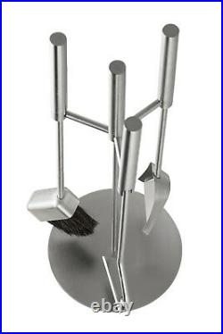 Hansa Premium Fireplace Tool Set(3 Parts)Round Hanger, Fire Tools Stainless Steel