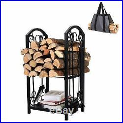 Hearth Firewood Rack Fireplace Tool Set Log Holder Storage 28 Powder Coat Black