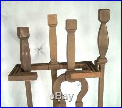 Heavy Cast Iron Arts & Crafts Mission Fireplace Tool Set With Stand