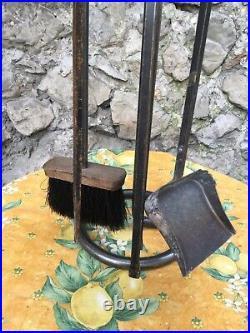 Heavy Duty French Fireplace Tools Wrought Iron Hand Forged Boar Hair Brush Set