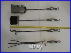 Heavy Metal Fire Place Fireplace Tool Set 4 Pieces & Stand