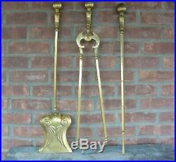Heavy Vintage Brass Fireplace Tool Set 3 Pcs