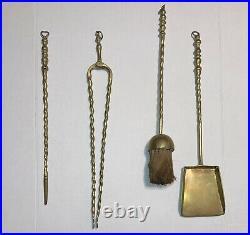 High-End 55 Brass Fireplace Tool Set & Candle Holder Shovel/Brush/Poker/Tongs
