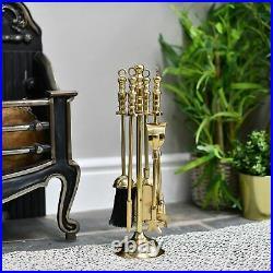 High Quality Polished Brass Four Tool Hearth Companion Set Fireside Tool Set
