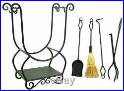 Iron Fireplace Wood Stove Log Holder Stand 4 Tools Set Hooks Bottom Shelf Poker