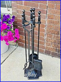 Iron Work Fireplace tool set with crescent wrench style holders foundry mark