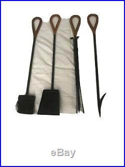 JACQUES ADNET Style Fireplace Tools Set Leather Handles Art Deco MCM