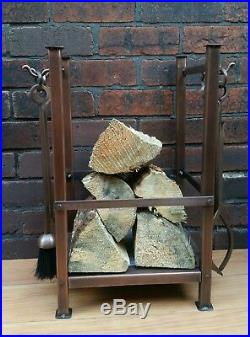 LOG Holder with Companion Set Aged Copper Colour Fireside Hearth Display Tools