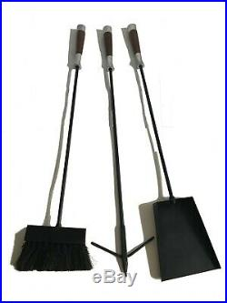 Large Mid Century iron fire place set wood metal handle fireplace tool 3 pcs set