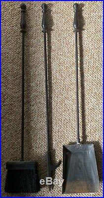 Large Vintage 1960s Wood Metal Horse Witco Fireplace Tool Set Mid Century Modern