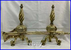 Large Vintage Antique Brass Fireside Tools Irons Firedogs Andirons Companion Set