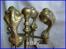 Large Vintage Brass Claw & Ball Fireside Fireplace Companion Pokers Tools Set