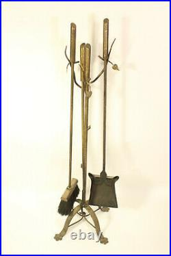 Log Cabin Tree Stump Wood Branch & Leaf Brass Handle Footed Fireplace Tools Set