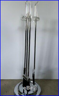 Lucite and Chrome Fireplace Tool Set Mid-Century Modern Made in Japan