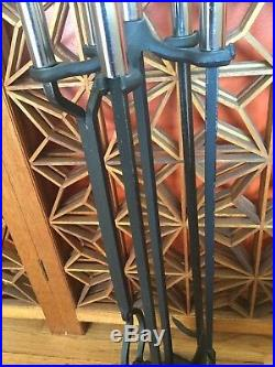 MCM Adams Company Fireplace Tool Set with Polished Nickel Handles Circa 1970's