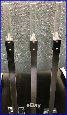 MCM Lucite Chrome Fireplace Tools 3 Pc Set & Holder Alessandro Albrizi Style WOW