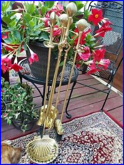 MCM Polished Brass Clam Shell Fireplace Tool Set On Stand