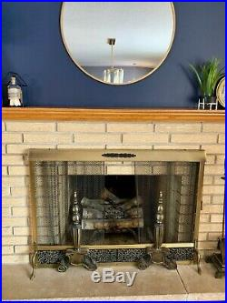 MCM Vintage Brass Fireplace Surround, Screen, Andirons and Tool Set