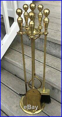 MID Century Brass Fireplace Tool Set 4 Pc Poker Broom Shovel Tongs Plus Stand