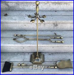 MID Century Brass Fireplace Tool Set 5 Pc Poker Broom Shovel Stand Tongs Jw 808s
