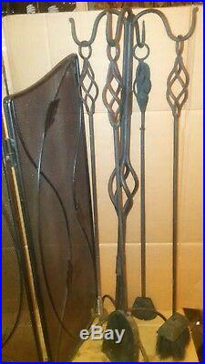 MID Century Modern Fireplace Screen Wrought Iron Tool Set & Log Holder Included