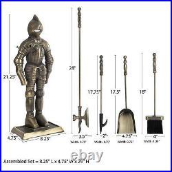 Medieval Knight Fireplace 3 Piece Tool Set, Poker, Broom, Dustpan Antique Brass