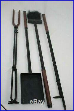 Michael Graves Design Fireplace Tools Set Steel with Brown Leather Handles RARE