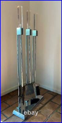 Mid-Century 70s Fire Place Tool Set Sculpture Steel Chrome Square Lucite Handles