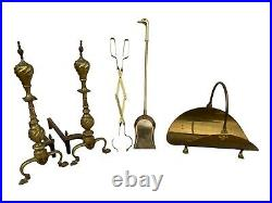 Mid Century Clawfoot Brass Fireplace Andirons and Tool set