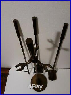 Mid Century Modern Adam's dubuque bronze finish Fireplace Tool Set Mantle