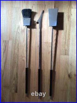 Mid Century Modern Albrizzi Chrome Lucite Fireplace Tool Set Black Resin handles